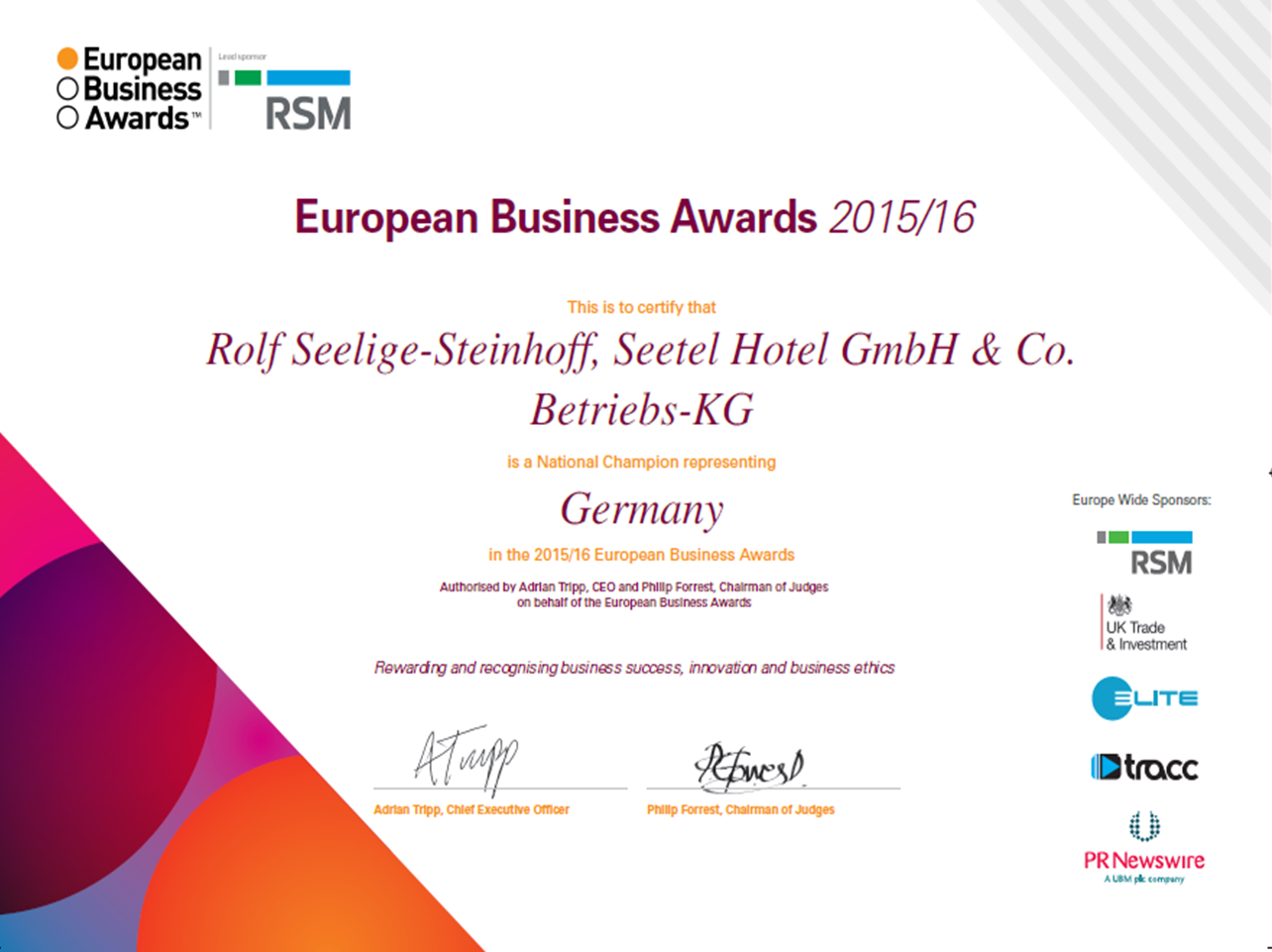 European Business Award - Zertifikat Seetel Hotels
